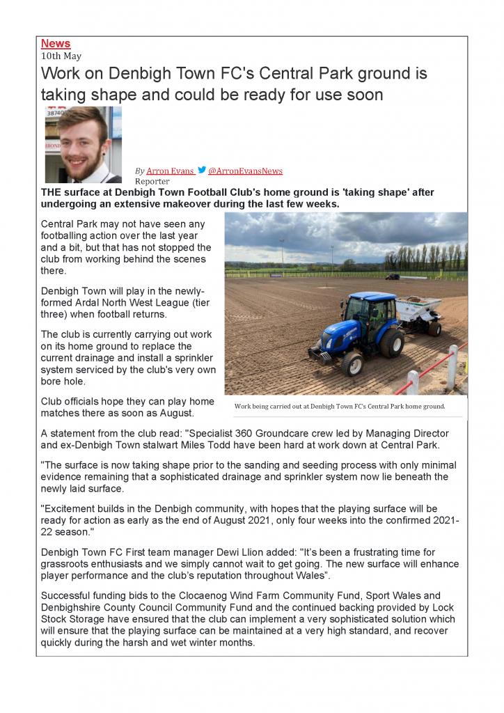 Denbigh Town FC News Article May 2021